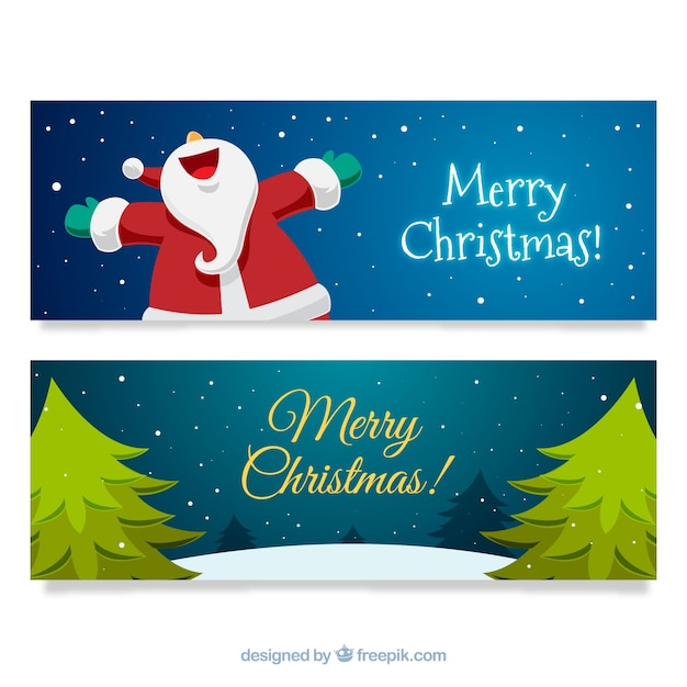 Happy christmas banners with happy santa claus\ and trees