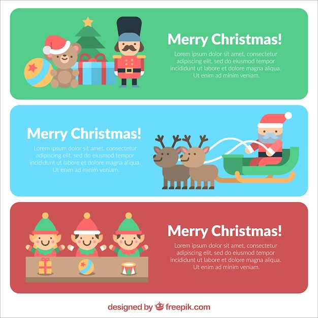 Happy christmas banners with nice characters in flat design