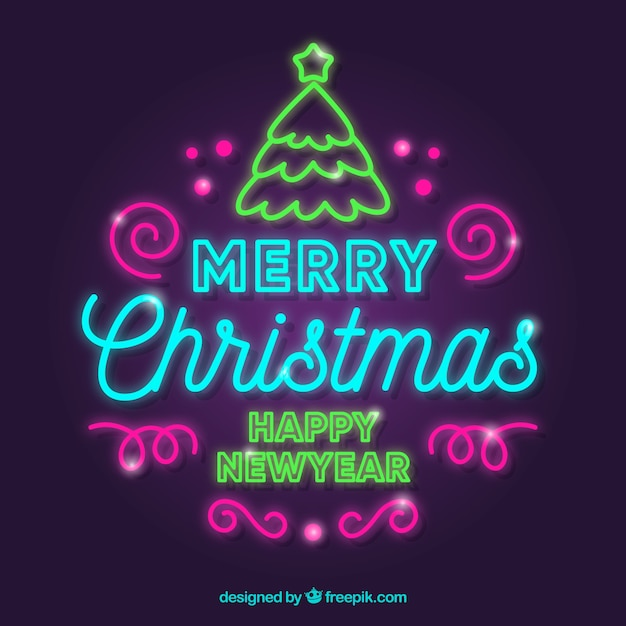 Happy christmas colorful neon writing