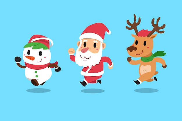 Happy christmas companions santa claus Premium Vector