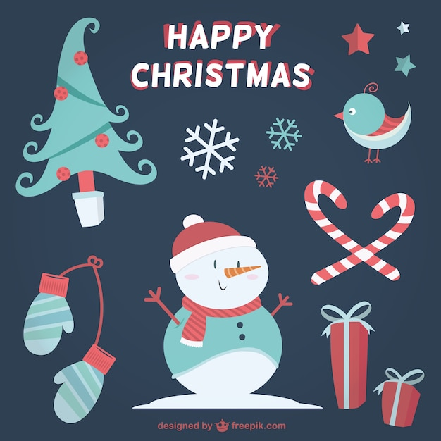 Happy christmas elements in lovely style Premium Vector