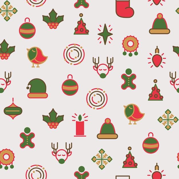 ハッピークリスマスは、さまざまな種類のギフトとカラフルなラインのヒイラギのおもちゃでシームレスなパターンをシンボルします 無料ベクター
