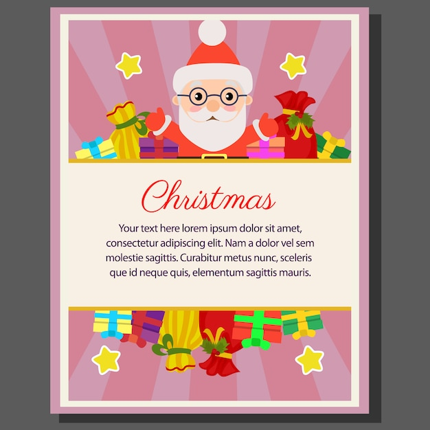 Happy christmas theme poster flat style santa gift sacks Premium Vector