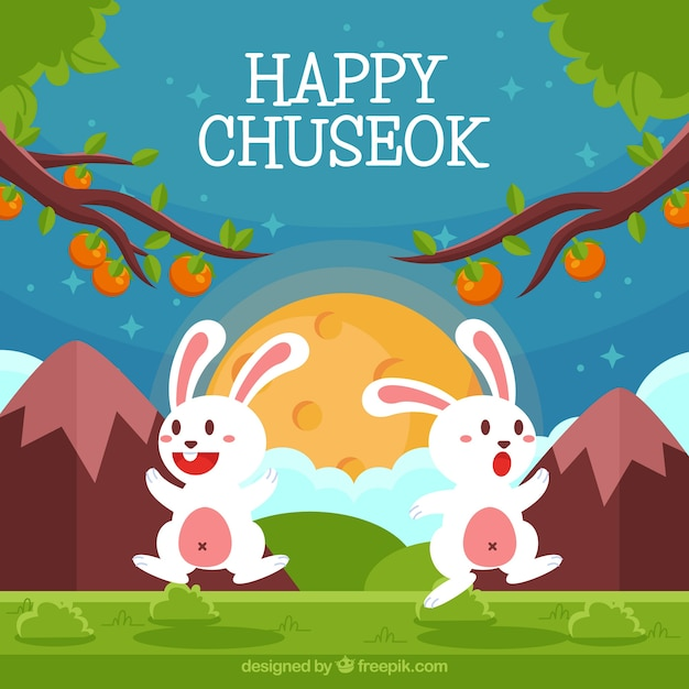Happy chuseok background with rabbits Free Vector