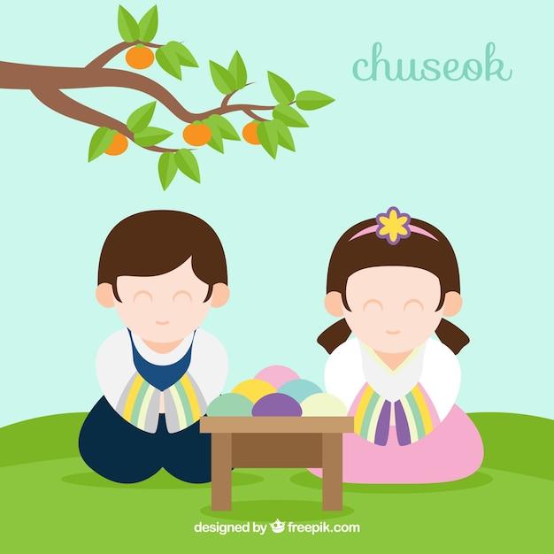 Happy chuseok background Free Vector