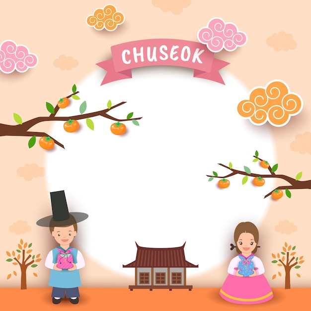 Happy chuseok boy girl moon Premium Vector