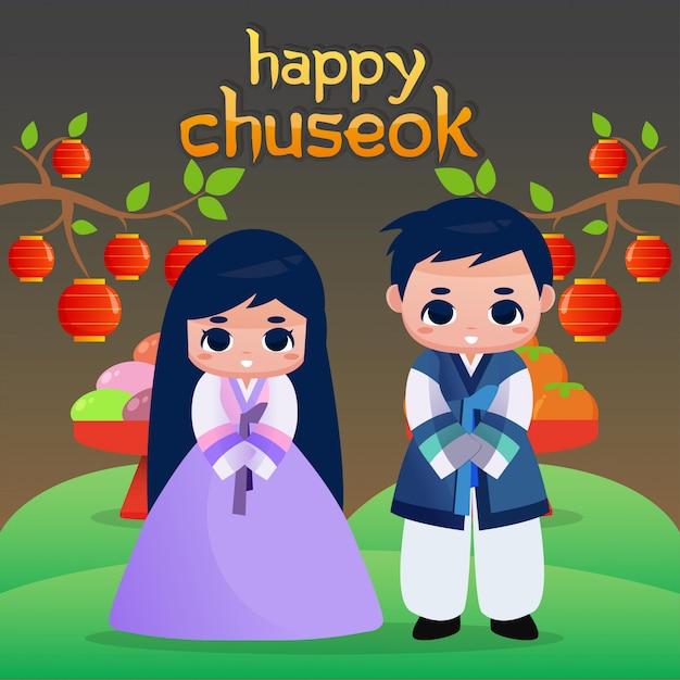 Happy chuseok illustration Premium Vector