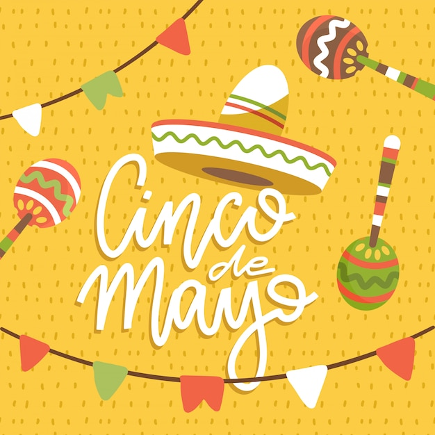 Happy cinco de mayo greeting card with hand drawn lettering phrase and sombreros, flags and maracas. flat  illustration on pattern background Premium Vector