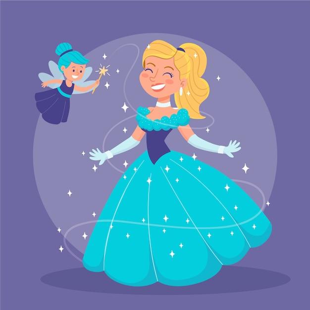 Счастливая иллюстрация принцессы золушки Бесплатные векторы