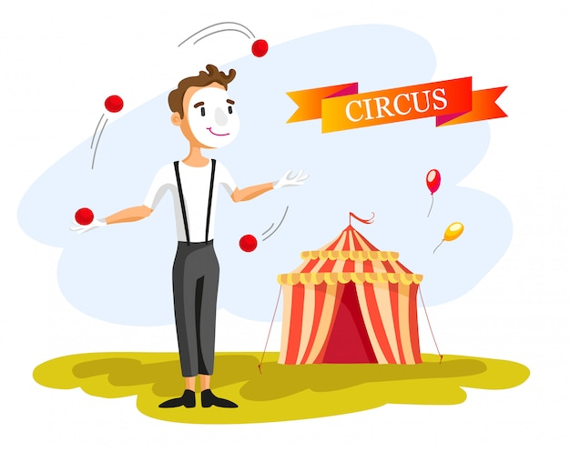 Happy circus clown. cartoon illustration. man juggling balls. circus show. vintage style. Free Vector