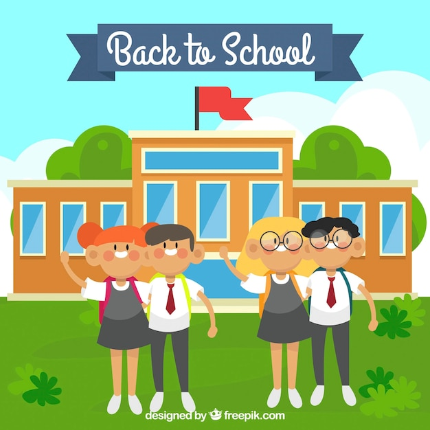 Happy classmates and school building with flat design