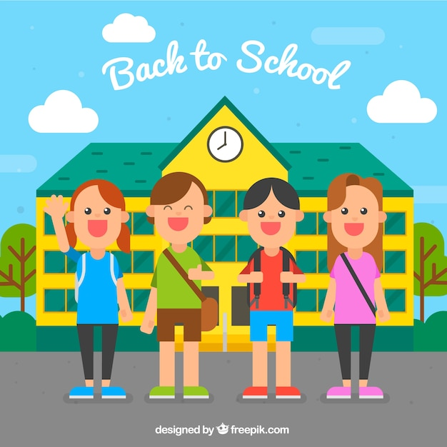 Happy classmates in the school