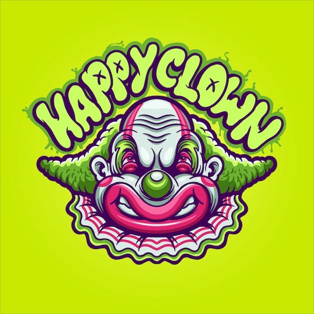 Happy clown illustration Premium Vector