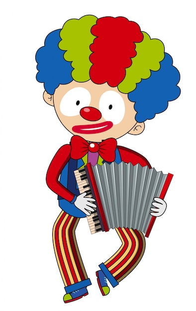 Happy clown playing accordion Free Vector