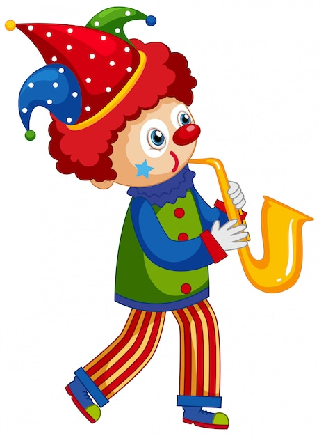 Happy clown playing saxophone on white background Free Vector