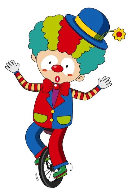 Happy clown riding on wheel Free Vector
