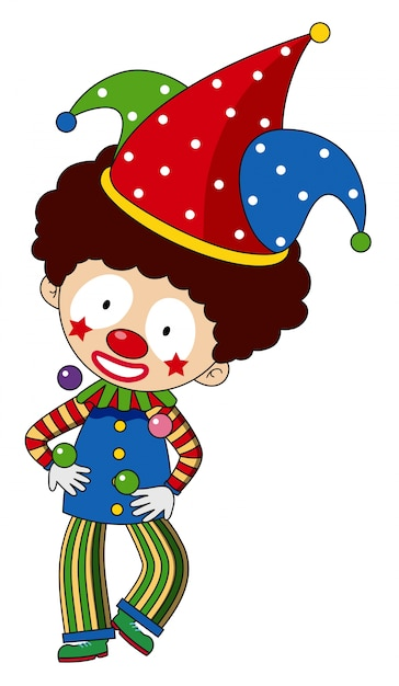 Happy clown with colorful hat Free Vector