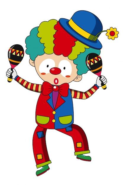 Happy clown with maracas Free Vector