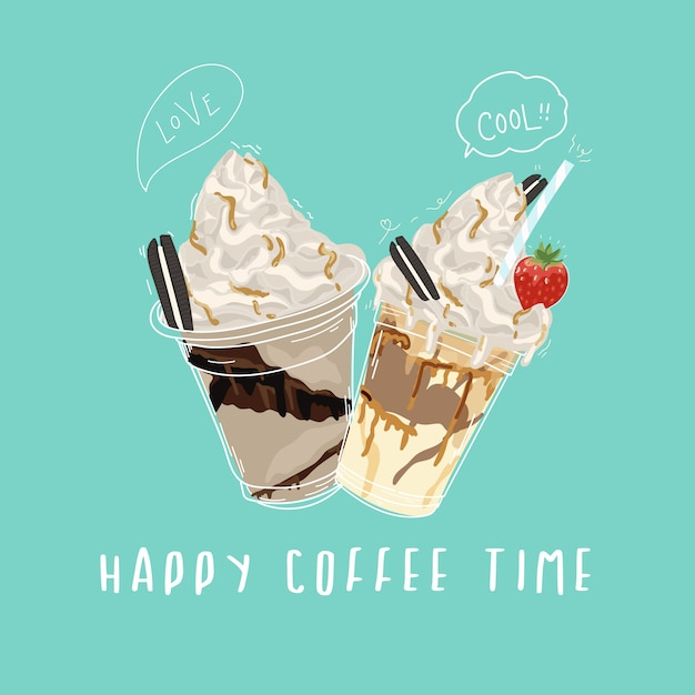 Happy coffee time banner design with sweet and cut doodle style Premium Vector