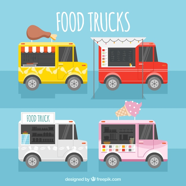 Happy collection of colorful food trucks