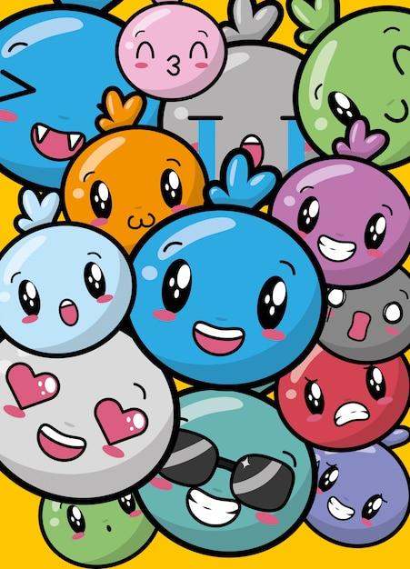 Happy colorful kawaii emojis Free Vector