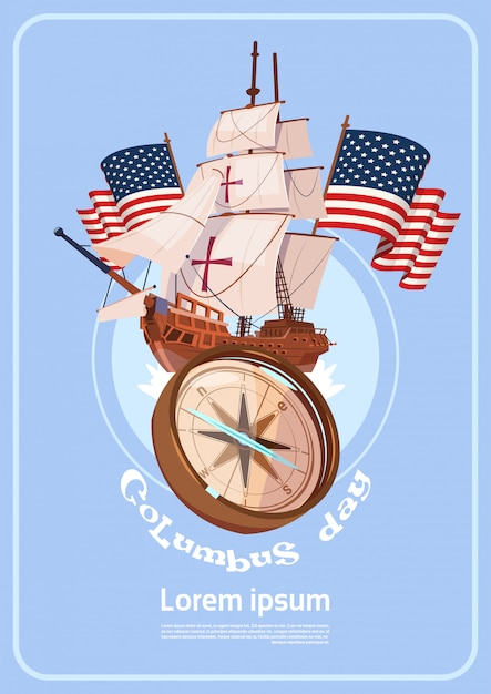 Happy columbus day america discover holiday poster greeting card Premium Vector