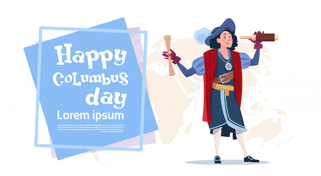 Happy columbus day american discovery holiday poster greeting card Premium Vector