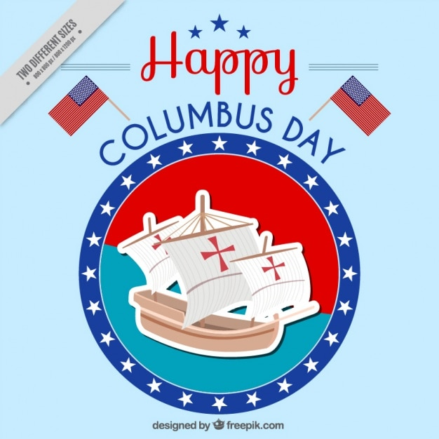 Happy columbus day background Free Vector