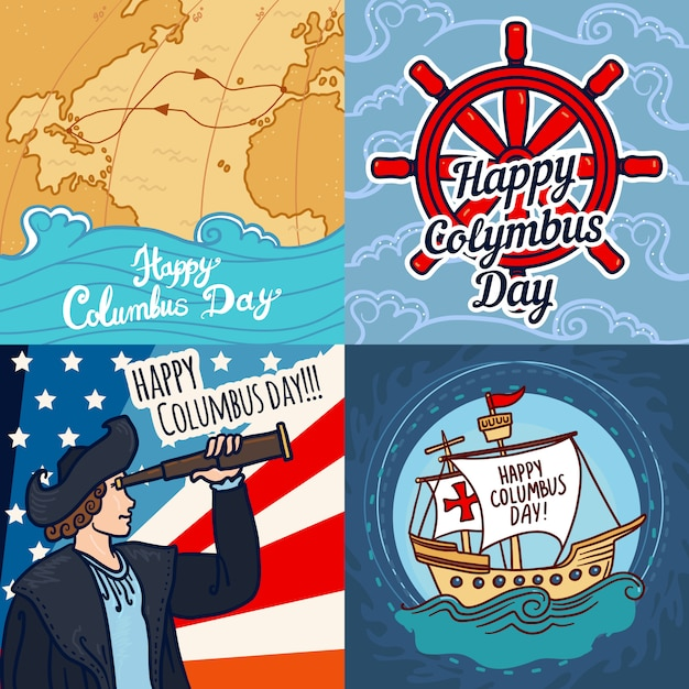 Happy columbus day banner set Premium Vector