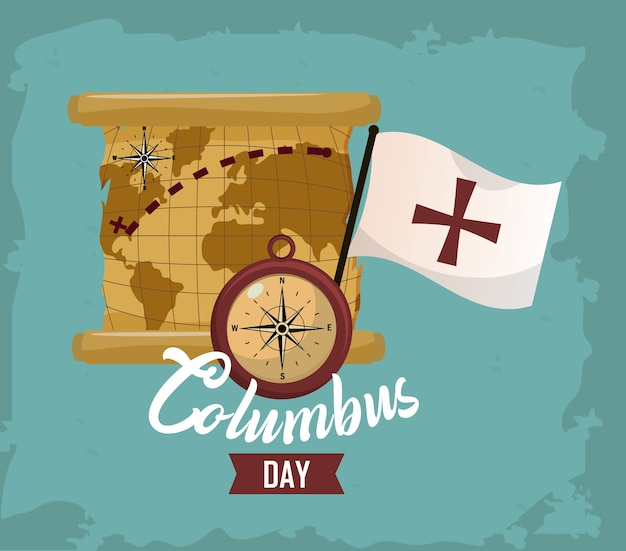 Happy columbus day card Premium Vector