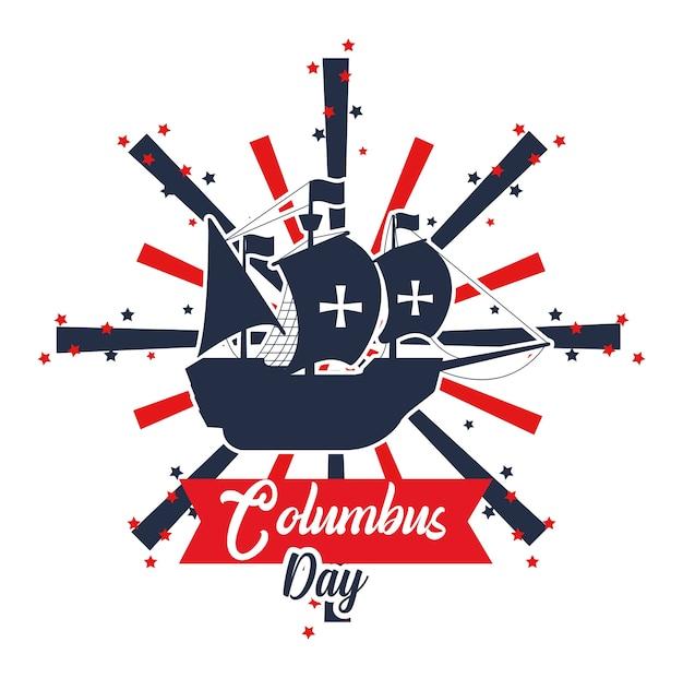 Happy columbus day card Premium Vector