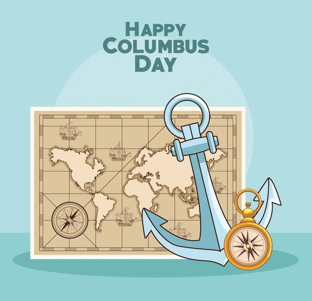 Happy columbus day design Premium Vector