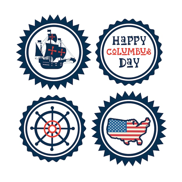 Happy columbus day national usa holiday greeting card icon set isolated Premium Vector