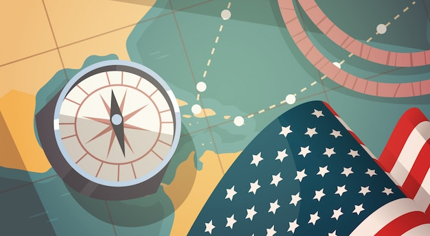 Happy columbus day national usa holiday greeting card with compass over world map Premium Vector