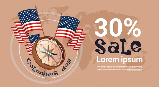Happy columbus day seasonal holiday sale shopping discount america discover poster greeting card Premium Vector