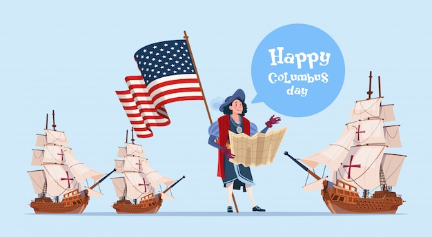 Happy columbus day ship america discovery holiday poster greeting card Premium Vector