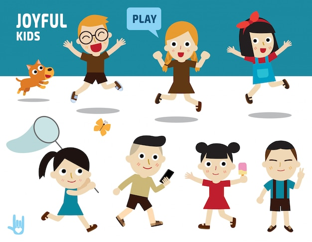 Happy concept. kids diverse of costume and action poses. Premium Vector