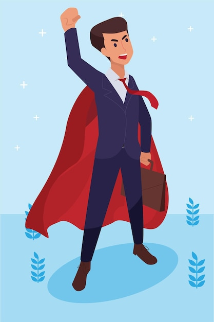 Felice uomo aziendale ha fatto il suo lavoro come visione e missione e celebrando, successo di leadership e concetto di progresso di carriera, illustrazione piatta Vettore gratuito