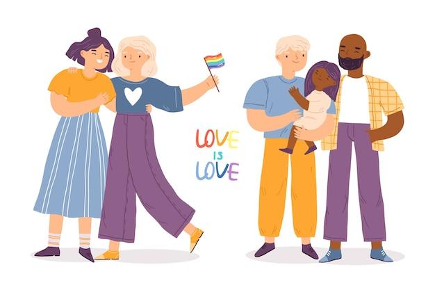 Счастливая пара и детский день гордости Бесплатные векторы