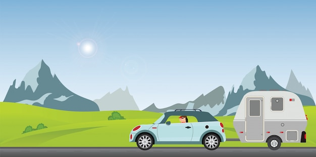 Happy couple driving car on road on a sunny spring day in the holiday. Premium Vector