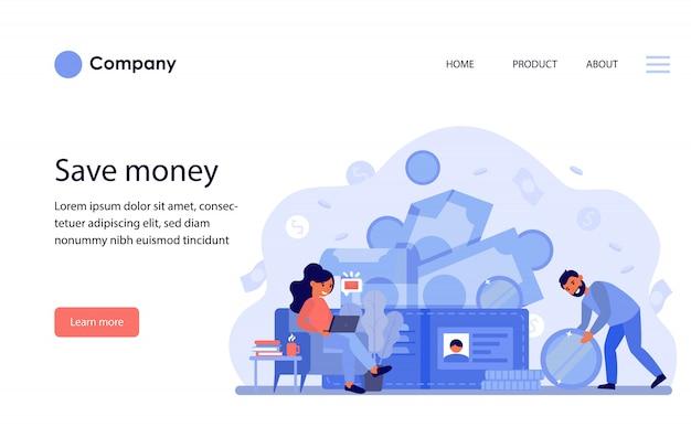 Coppia felice guadagnare soldi e contare il budget. modello di sito web o pagina di destinazione Vettore gratuito