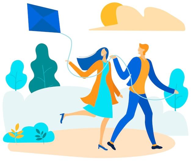 公園の図に凧を飛んで幸せなカップル Premiumベクター