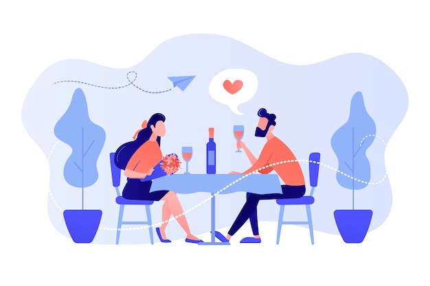 Счастливая влюбленная пара на романтическом свидании, сидя за столом и пьет вино, крошечные люди. романтическое свидание, романтические отношения, концепция любовной истории. розовый коралловый синий вектор изолированных иллюстрация Бесплатные векторы