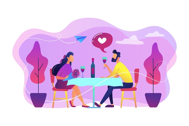 テーブルに座ってワインを飲みながら、ロマンチックなデートで恋をしている幸せなカップル、小さな人々。ロマンチックなデート、ロマンチックな関係、ラブストーリーのコンセプト。 無料ベクター
