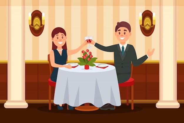 レストランに座っているとワインの小話を飲むの愛の幸せなカップル Premiumベクター