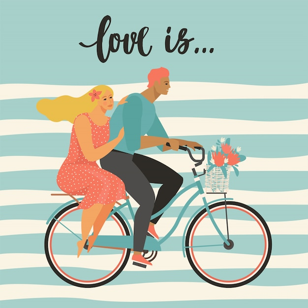 Happy couple is riding a bicycle together and happy valentines day illustration vector. Premium Vector