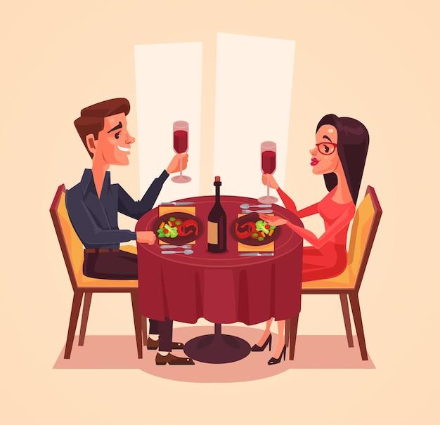 Счастливая пара любителей мужчина и женщина персонажей обедают с вином. Premium векторы