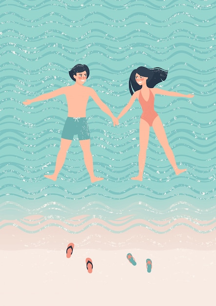Happy couple man and woman doing the starfish float on the water illustration Premium Vector