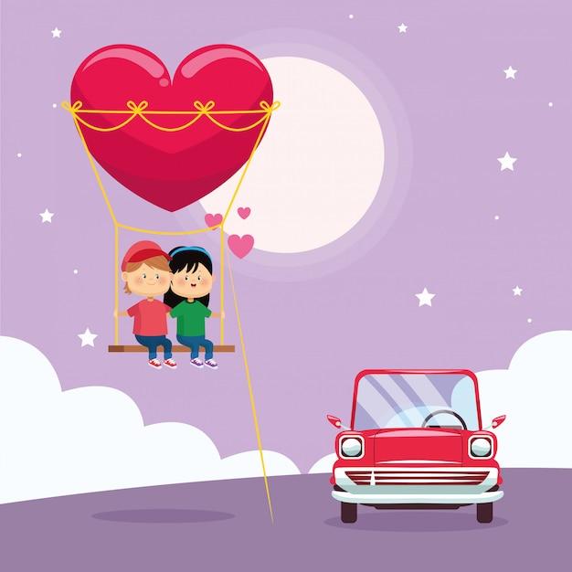 心のスイングと古典的な車に幸せなカップル Premiumベクター