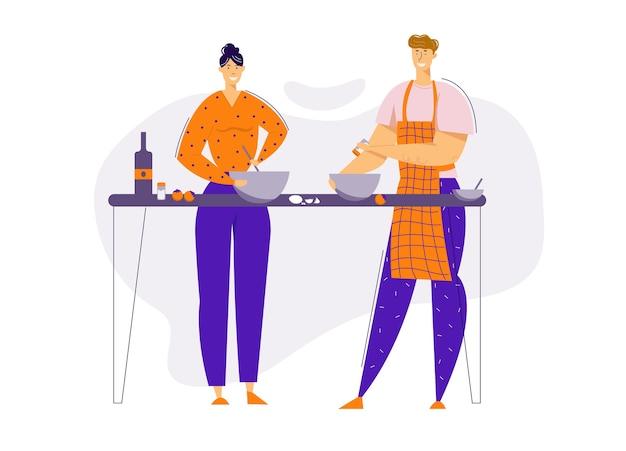 キッチンで一緒に食事を準備する幸せなカップル。家で料理をする男性と女性のキャラクター。家族関係。 Premiumベクター